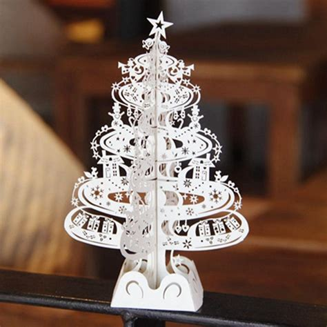 10pcs Christmas Tree Gifts 3D Laser Cut Pop Up Cards